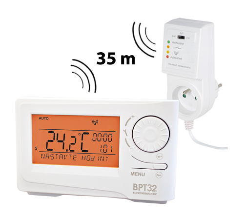 Elektrobock Funk Raumthermostat mit LCD Anzeige und Steckdosenempfänger BPT32 201875